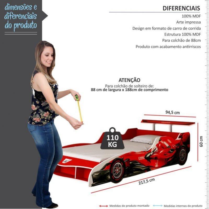 Cama Solteiro Formato de Carro F1 Gelius - Vermelho. Passe o mouse para ver  mais detalhes Ampliar imagem. Previous 7fad8e01c783e