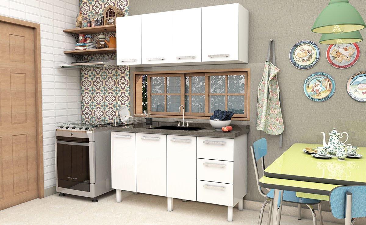 Armário Aéreo de Cozinha 4 Portas Vênus Flat 150 Cozimax Branco