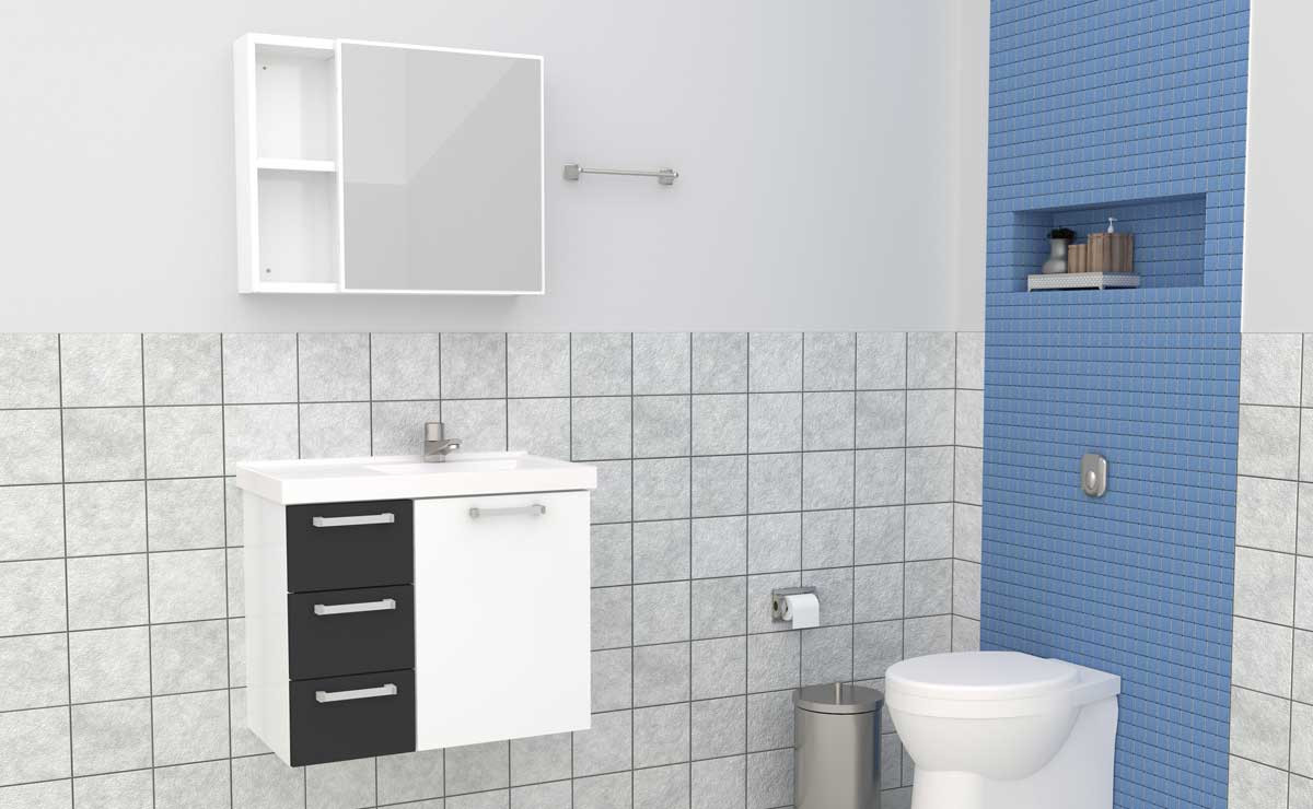 Conjunto Para Banheiro Aço Ameixa 60 Cozimax Branco/Preto