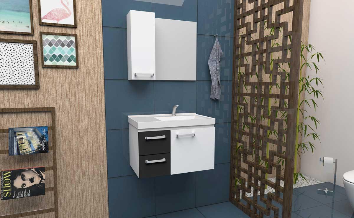 Conjunto Para Banheiro Aço Romã 60 Cozimax Branco/Preto