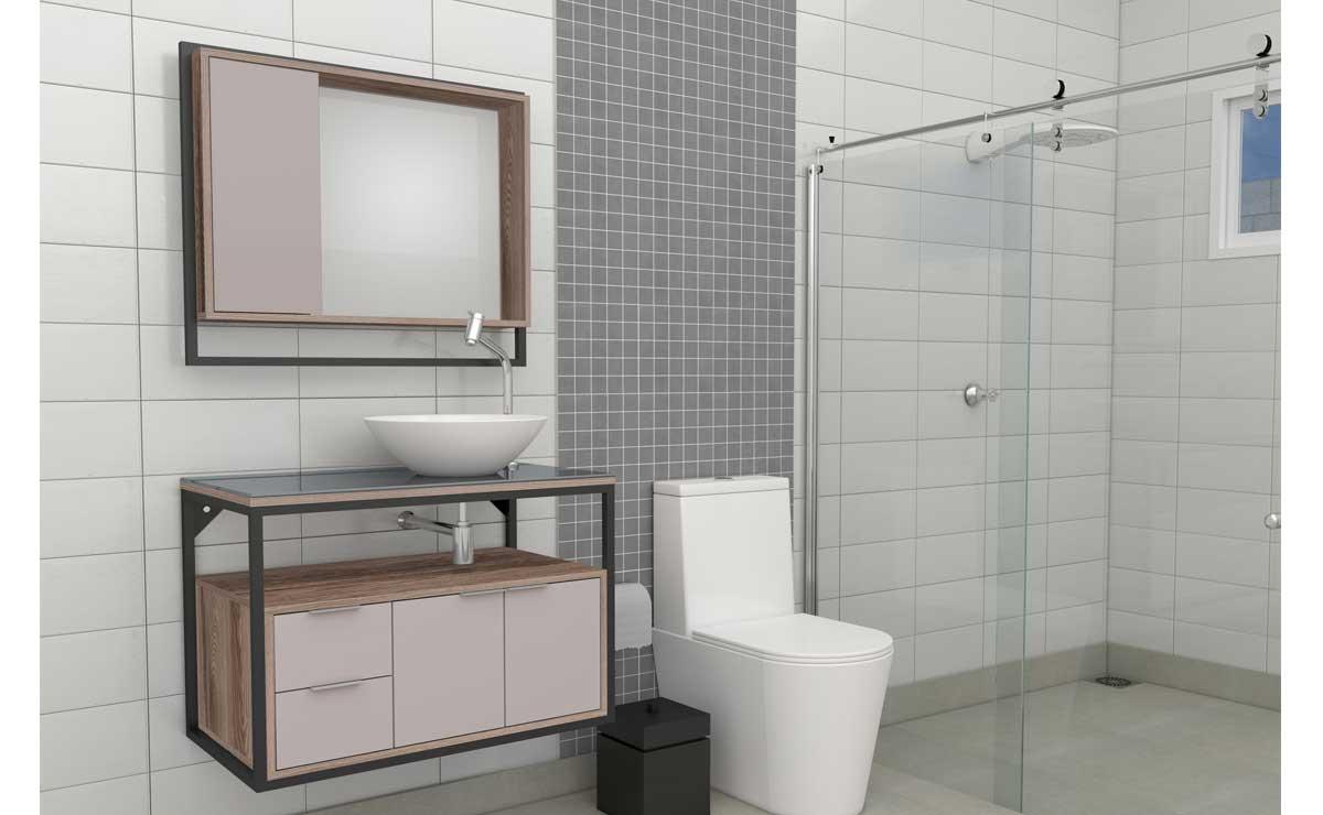 Gabinete Para Banheiro Apoema 80 com Cuba Cuia Cozimax Nudi/Tamarindo