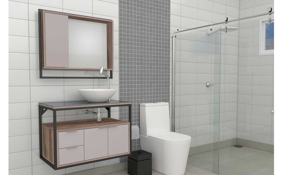 Gabinete Para Banheiro Apoema 80 Cozimax Nudi/Tamarindo