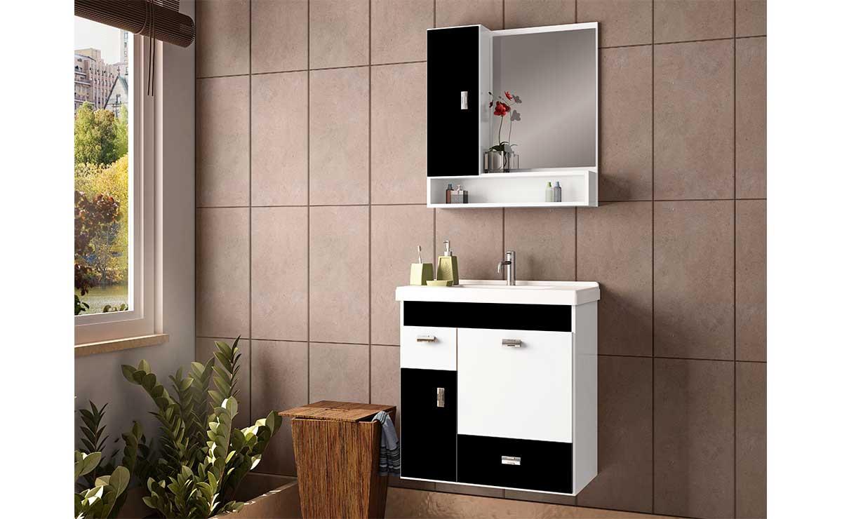 Conjunto Para Banheiro Madeira Orquídea 60 Cozimax Branco/Preto