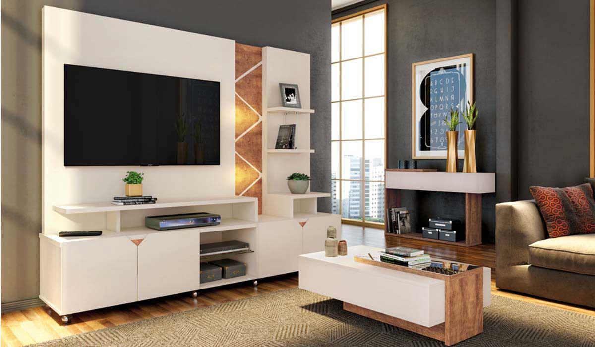 Estante Home Para TV 55 Polegadas Cross 2.1 Com LED Lukaliam Off White/Amêndoa