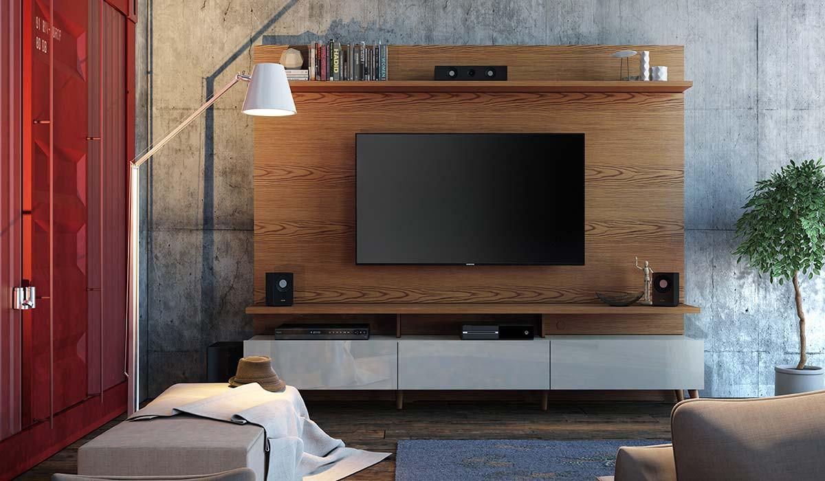 Estante Home Theater Para TV até 65 Polegadas Boss 2.2 Imcal - Freijó/Off White