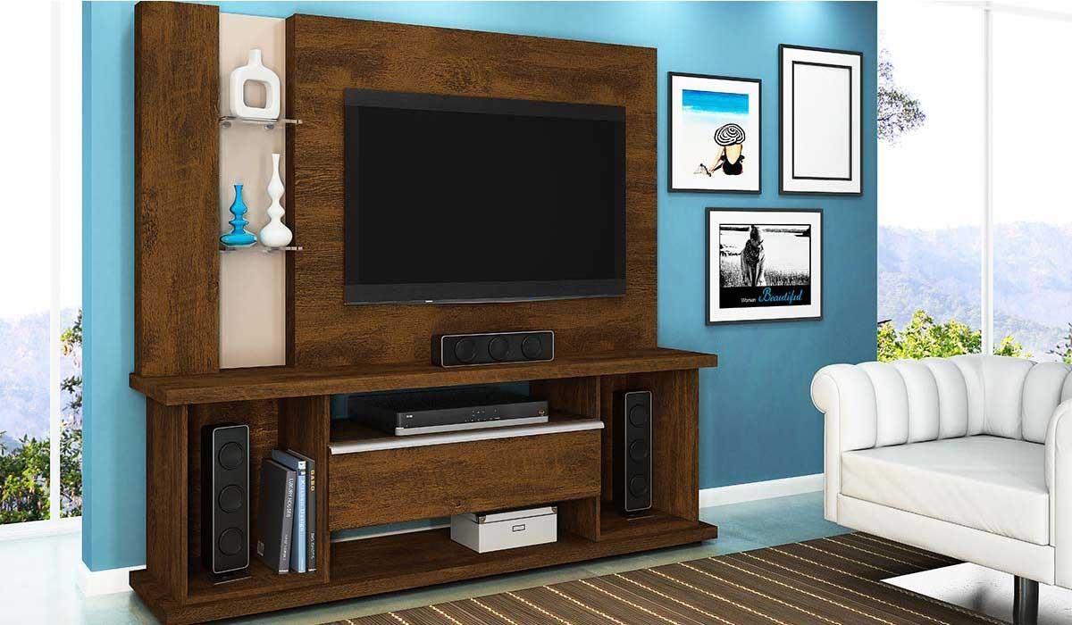 Estante Home Para TV 55 Polegadas Onix 1.8 Lukaliam Canela/Vanilla