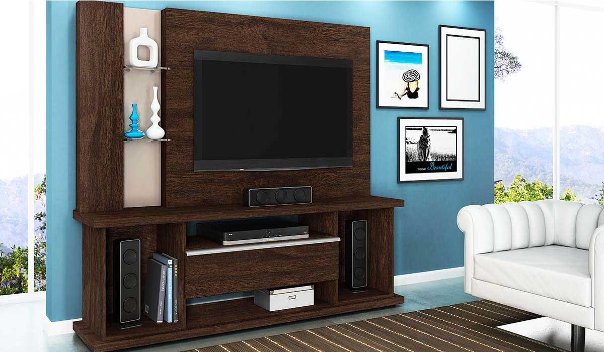 Estante Home Para TV 55 Polegadas Onix 1.8 Lukaliam Noce/Vanilla