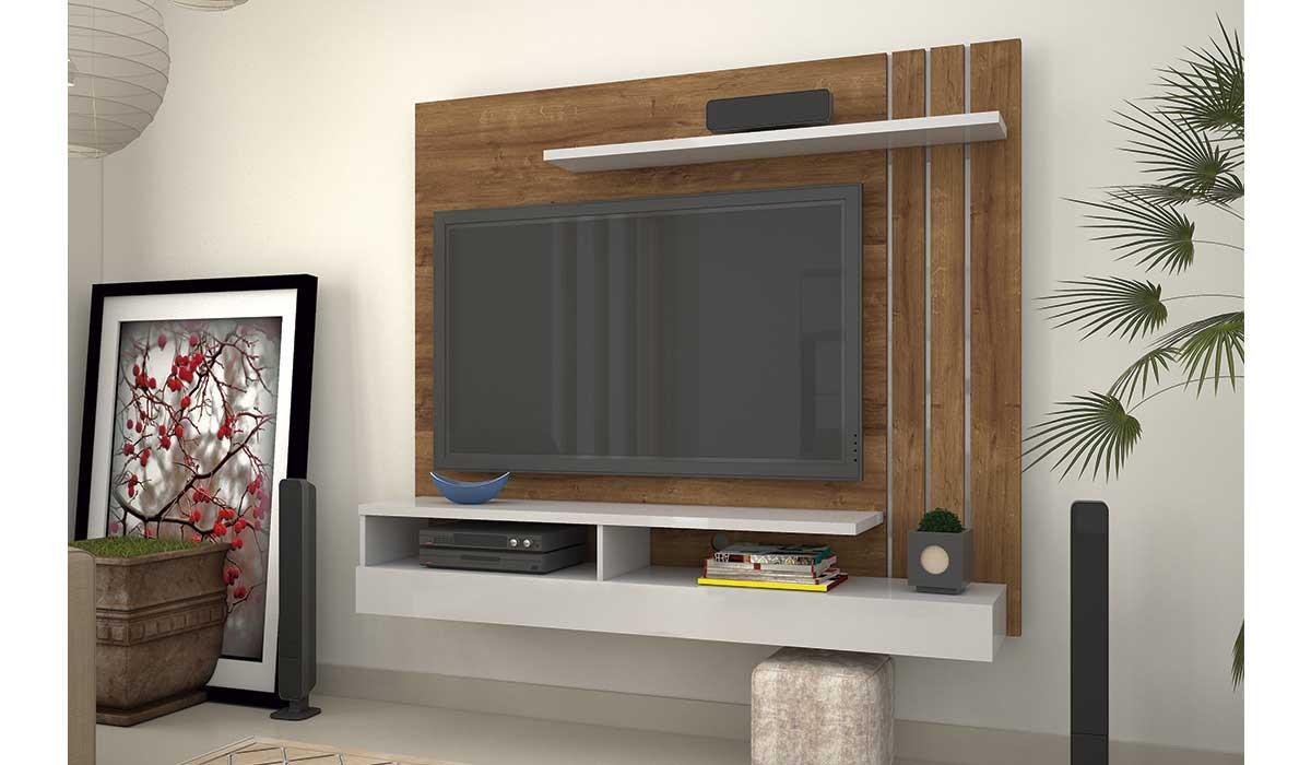 Painel Home Para TV 55 Madrid Mirarack Canela/Off White