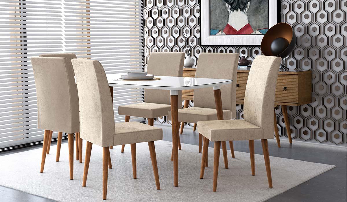 Mesa de Jantar Retrô 120 x 90 Jade RV Móveis Off White