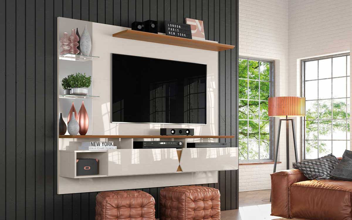 Painel Para TV 55 Polegadas Intense 1.8 Lukaliam Off White/Damasco