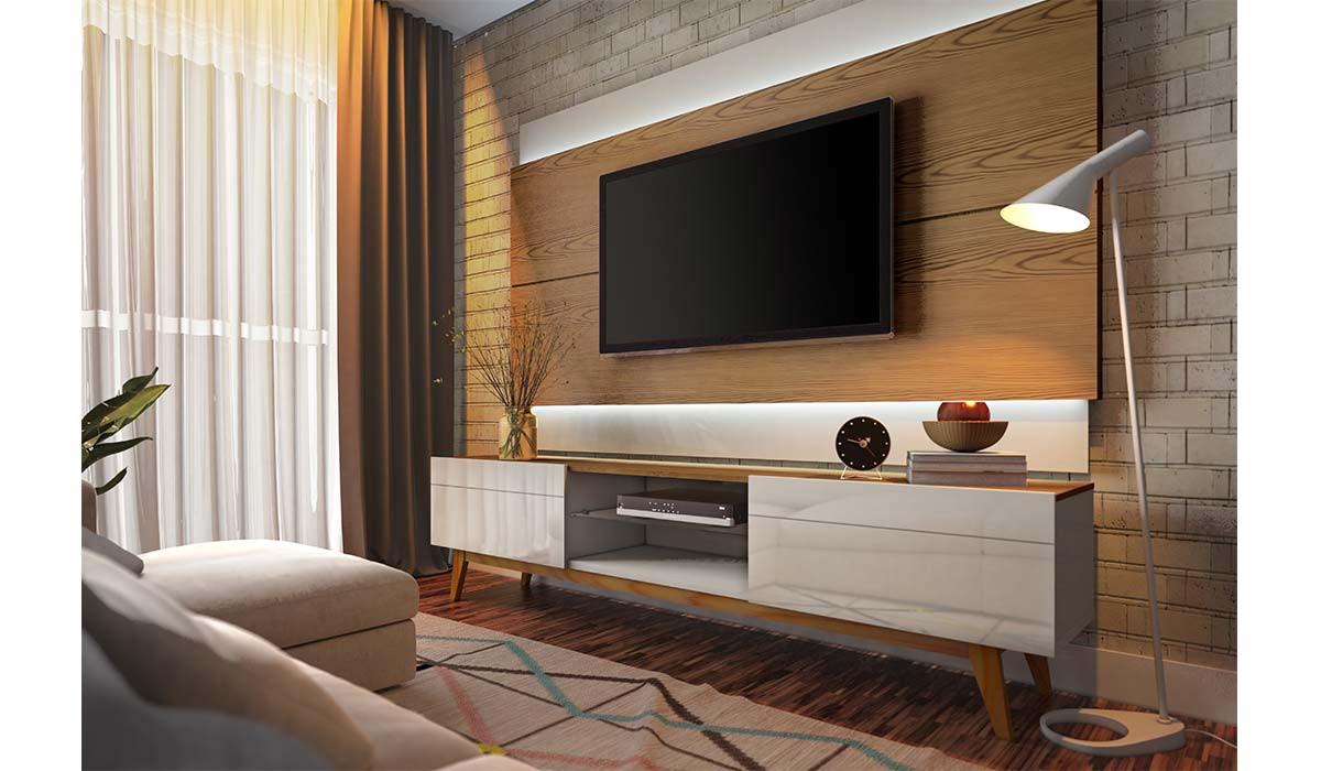 Rack Classic 2G 2.2 Para TV até 65 Polegadas Imcal - Off White/Freijó