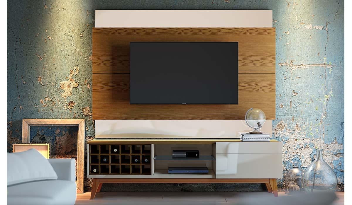 Rack Classic AD 2.2 Para TV até 65 Polegadas Imcal - Off White/Freijó