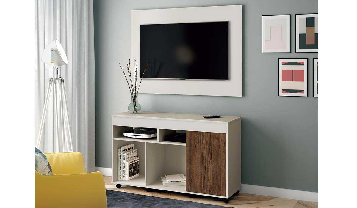 Rack com Painel Para TV 40 Vision EDN Off White/Naturale