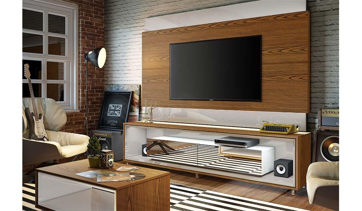 Rack Para TV 65 Polegadas Opera com Espelho 2.2 Imcal Off White/Freijó