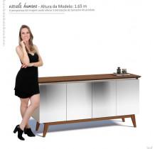Balcão Buffet 4 Portas Para Sala de Jantar Com Espelho Classic Imcal Off White/Freijó