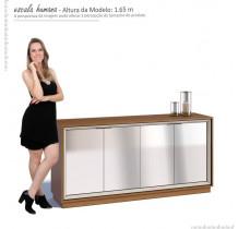 Balcão Buffet 4 Portas Com Espelho Ópera Imcal - Off White/Freijó