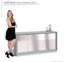 Balcão Buffet 4 Portas Com Espelho Ópera Imcal Branco