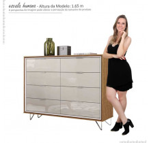 Cômoda Premium 8 Gavetas Lukaliam Amêndoa/Off White