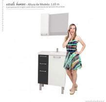 Conjunto Para Banheiro Aço Cereja 60 Cozimax Branco/Preto