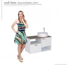 Gabinete Para Banheiro Iara 80 com Cuba Domo Cozimax Branco/Tamarindo