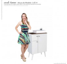 Gabinete de Banheiro Retrô Itaúna 60 Cuba Prisma Cozimax Branco/Tamarindo