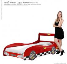 Cama de Solteiro Carro Rally Gelius Vermelho