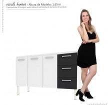 Gabinete Para Pia Cozinha Aço Apolo Flat 1.5 Cozimax Branco/Preto