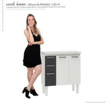 Gabinete Para Banheiro Aço Damasco Com Pés 80 Cozimax Branco/Preto