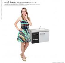 Gabinete Para Banheiro Aço Romã 60 Cozimax Branco/Preto