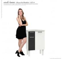 Gabinete Para Banheiro Aço Com Pés Araça 60 Cozimax Branco/Preto