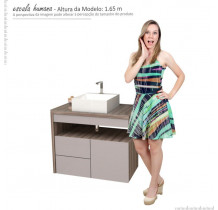 Gabinete Para Banheiro com Cuba Cubo Aimoré 70 Cozimax Nudi/Tamarindo