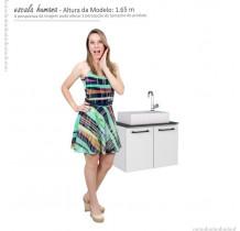 Gabinete Para Banheiro Aço Pessego 60 com Cuba Prisma Cozimax Branco