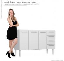 Gabinete de Pia 140 Vênus Flat 4G Cozimax Branco