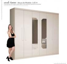 Guarda Roupa Casal 6 Portas com Espelho Infinity Gelius Branco