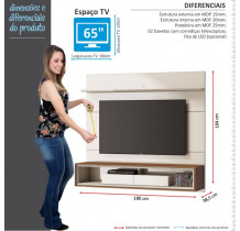 Home Suspenso Para TV 65 Polegadas Ópera 1.8 Imcal Off White/Freijó