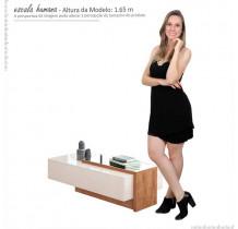 Mesa de Centro Com Espelho Milão Lukaliam Off White/Amêndoa