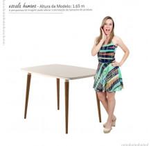 Conjunto Mesa Para Sala de Jantar Retrô 120 x 90 Com 4 Cadeiras Jade RV Móveis - Off White/Bege
