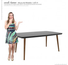 Mesa de Jantar Retrô 170 x 90 Jade RV Móveis Preto