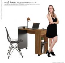 Mesa Para Escritório Estudos Alessa M2 Lukaliam Amêndoa/Chumbo