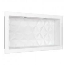 Nicho Para Banheiro Com LED 60x30 Mármore Sintético Cozimax Branco Textura