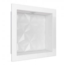 Nicho Para Banheiro 30x30 Com LED Mármore Sintético Cozimax Branco Textura