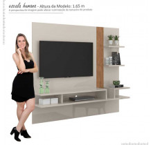 Painel Suspenso Para TV 50 Polegadas Cross 1.8 Lukaliam Off White/Amêndoa