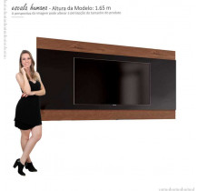 Painel Para TV até 65 Polegadas Merlot 180 EDN Preto/Naturale