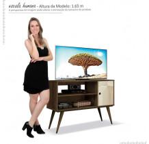 Rack Retrô Pequeno Para TV 37 Reale EDN Nogal/Off White