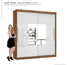 Guarda Roupa Com Espelho Ipanema Mirarack Canela/Off White
