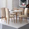 Conjunto Mesa Para Sala de Jantar Retrô 170 x 90 Com 6 Cadeiras Jade RV Móveis - Off White/Bege