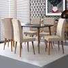 Conjunto Mesa Para Sala de Jantar Retrô 170 x 90 Com 6 Cadeiras Jade RV Móveis - Preto/Bege