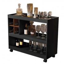 Aparador Bar para Sala de Estar 4050 JB Bechara Preto/Caramelo