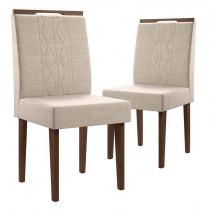 Cadeiras para Sala de Jantar (2 unidades) Creta Lukaliam Canela/Champagne