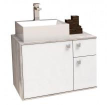 Gabinete de Banheiro Caeté 60 com Cuba Cubo Cozimax Branco/Calcare